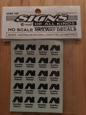 SK109 AN Black Locomotive Logo 20 in pack #109 DECAL HO