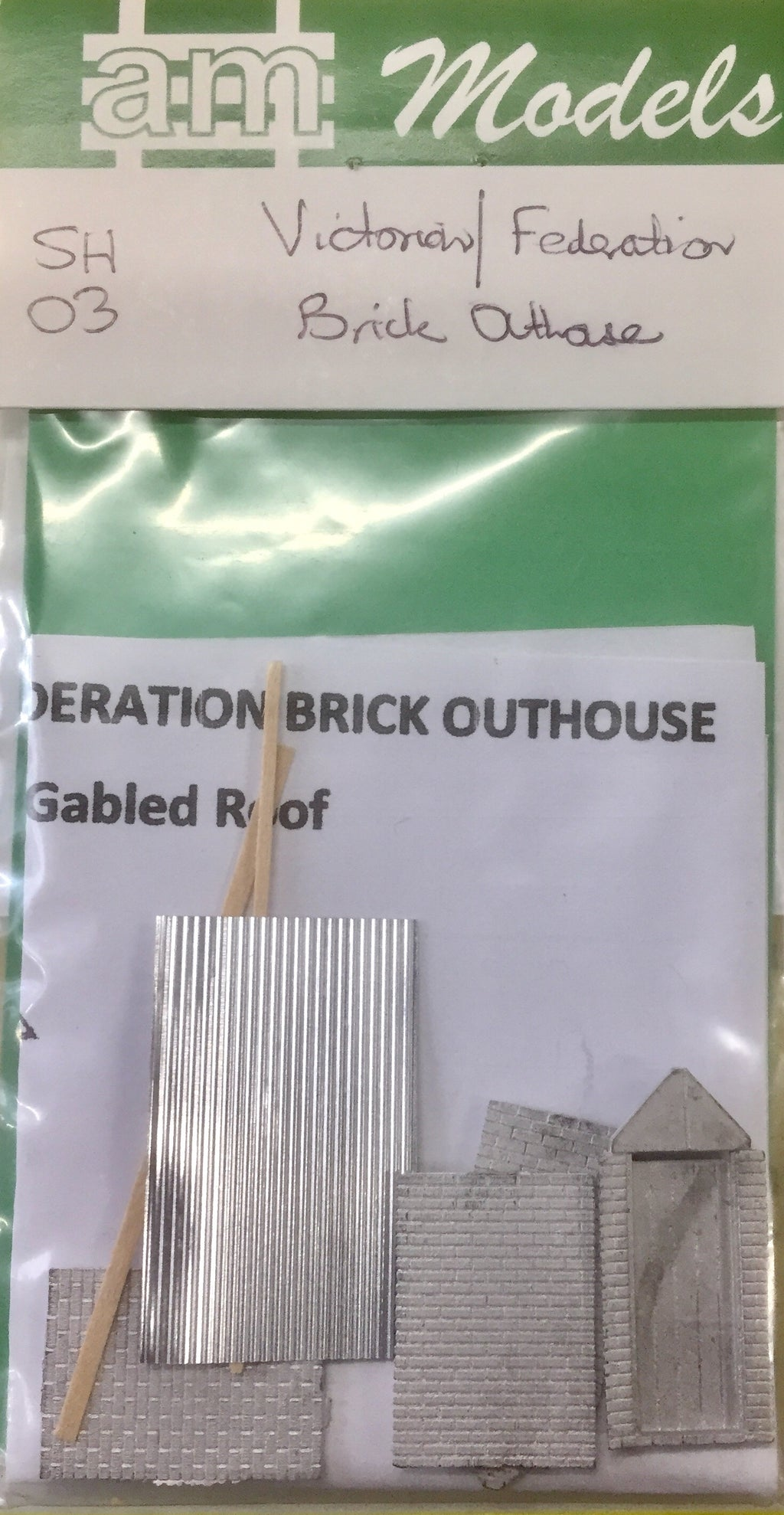 AM Models : SH03 VICTORIAN-FEDERATION BRICK OUTHOUSE KIT WITH GABLED ROOF.