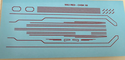CHSK58 DECAL C38 Ozzy Decals: C38 Red Lining for NSWGR C38 STREAM LINED AND STANDARD LOCOMOTIVE.