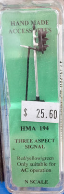 HMA 194 N SCALE THREE ASPECT SIGNAL red/yellow/green ONLY SUITABLE FOR AC OPERATION