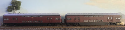 Casula Hobbies: RTR 1964 Sydney Electric Suburban Trailers: 2 car Indian Red 1969 set T4900 T4910.