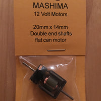 07. MH: 20mm x 14 mm x 10mm with 1.5 x 9 mm double end shafts MASHIMA OPEN FRAME MOTOR 12 volt.