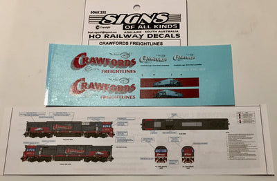 SK252 DECAL 'NEW' CRAWFORDS FREIGHTLINES locomotive  Livery HO