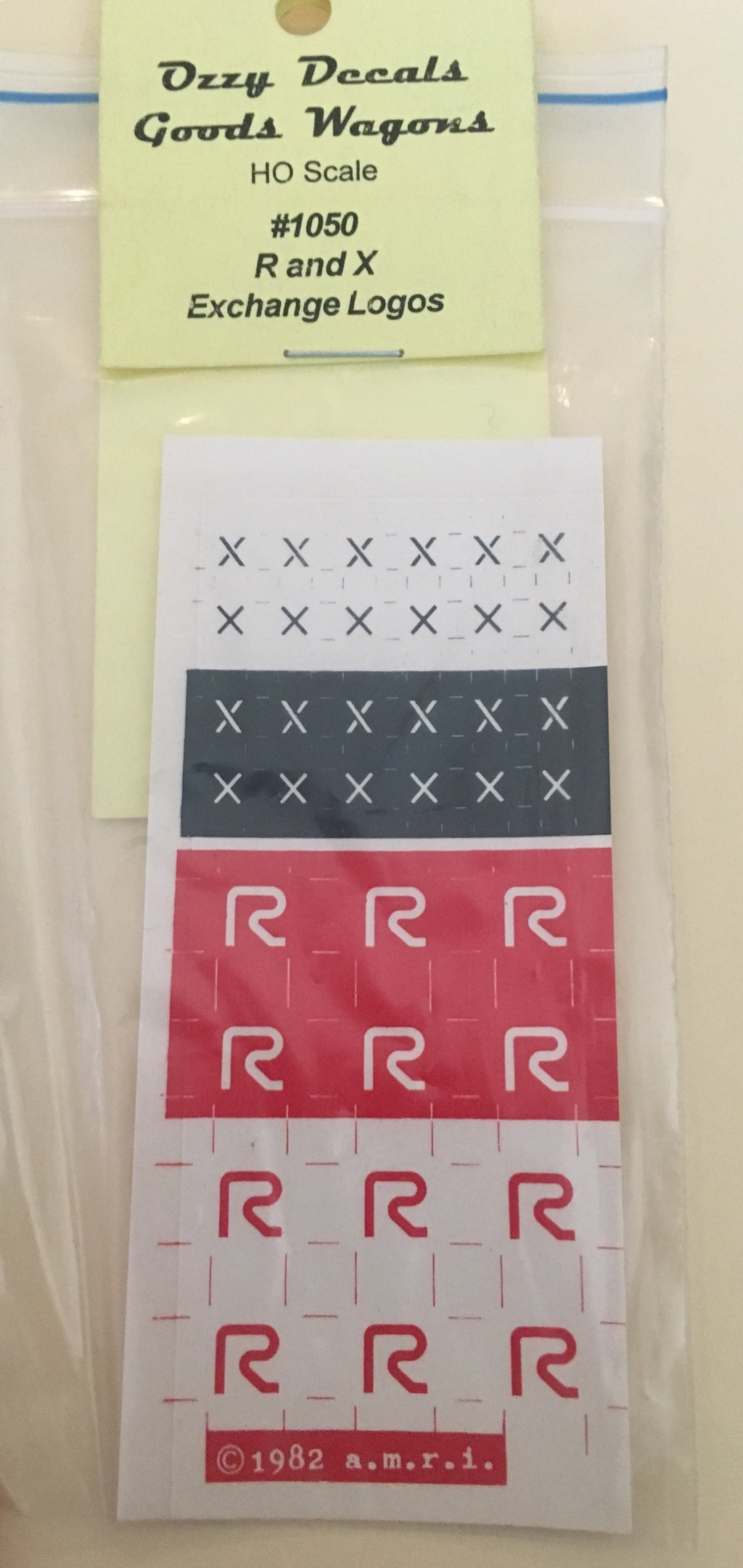 Ozzy Decals: LOGO'S 1050 R's and X's Exchange.  No photo shown.