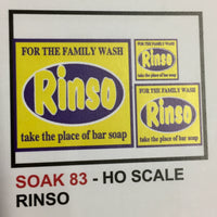 "BILLBOARD SIGHS SK 83 ""RINSO""  DECAL HO"