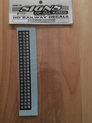 SK166 S.A.R. BOGIE EXCHANGE S.P. PLATE & ROLLER BEARING DECAL HO