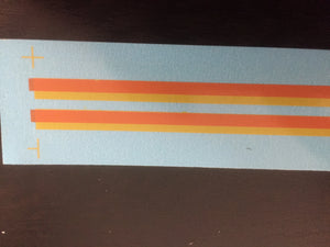 OZZY PASSENGER CAR DECAL Candy Strip livery, decal Lining for Passenger Car, locomotive NSWR.; 2 off at 250 mm each.