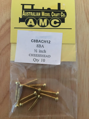 CHEESEHEAD   8 BA 1/2 inch BRASS SCREWS Qty 10
