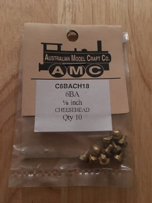 CHEESEHEAD   6 BA 1/8 inch BRASS SCREWS Qty 10