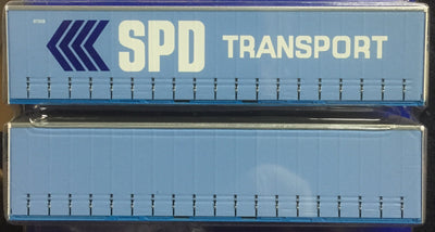 40' Curtain Sider Containers #40CS-08 On Track Models: SPD TRANSPORT Light Blue/White (2 PACK)
