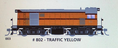 800 class DC Powered - #003 Loco No 802 in TRAFFIC YELLOW - SOUTH AUSTRALIAN RAILWAYS:  SDS Models NOW AVAILABLE: Non Sound