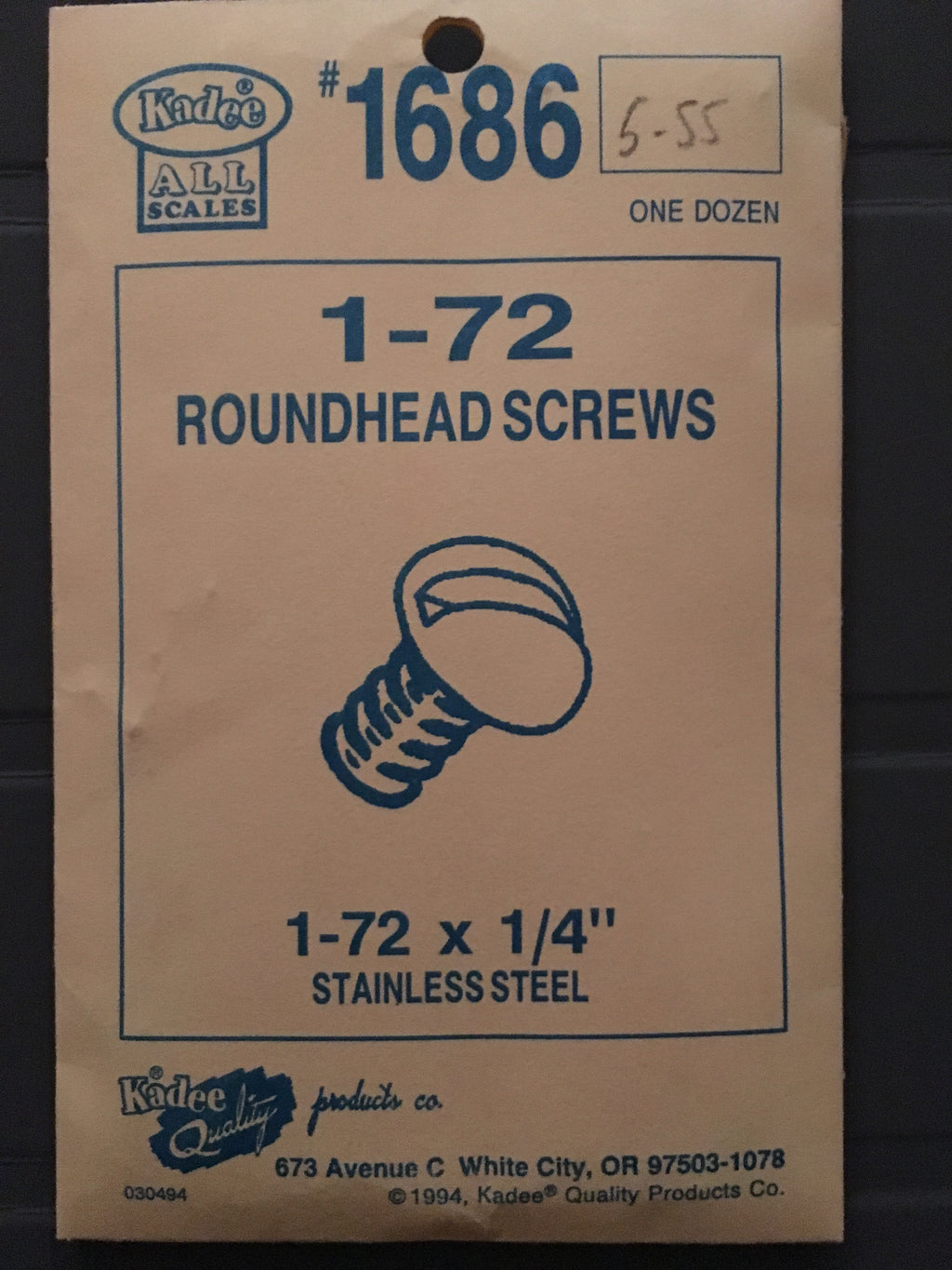 #1686 Screws Stainless Steel 1-72 x 1/4in