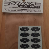 SK123 THE NEW OVERLAND PASSENGER CAR LOGO 10 PER PK. HO DECAL