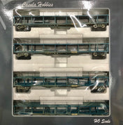CAR CARRIER: Casula Hobbies: Car Carriers #Pk4. 4 Pack Set BNX 34596, 34575, 34585, 34592 (Weathered) Original 1973 PTC Blue Set Ready to Run Models RRP $300 Sale price $200ea