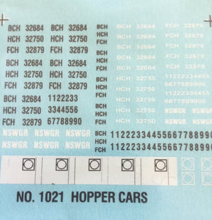 1021 BCH Ozzy Decals: Bogie Coal hoppers #1021 BCH, HCH, FCH, NSWGR,.Letters & numbers CODES & NUMBERS.