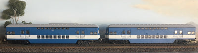 RRP $320 Save $50!!!: Casula Hobbies: RTR 1964 Sydney Electric Suburban Trailers: 2 car blue/high white 1974 set T4905/T4918