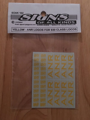SK102 Decal for ANR logos for 930 class locos in yellow HO