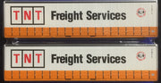 40' Curtain Sider Containers #40CS-12 On Track Models: TNT Freight Services Orange and White (2 PACK)