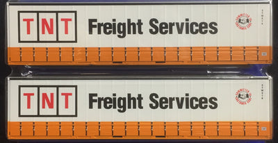 12. 40' Curtain Sider Containers #40CS-12 On Track Models: TNT Freight Services Orange and White (2 PACK)