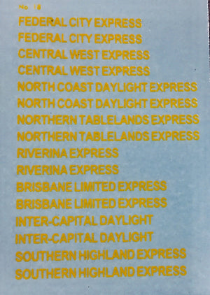 OZZY PASSENGER CAR DECAL : CHSK 56 TRAIN NAMES on RUB Air Condition sets. No photo shown.