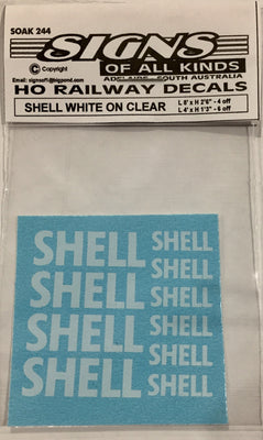 SK244 DECAL 'NEW' SHELL Name white on clear in 2 sizes L 8