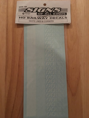 SK139 WHITE STEAM LOCO LINES & CORNERS HO DECAL