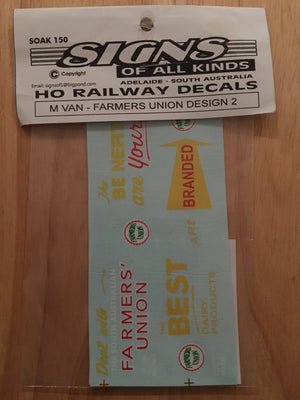 "SK 150 M VAN SOAK 150 Decal Vic, Rail ""FARMERS UNION"" DESIGN 2. HO"