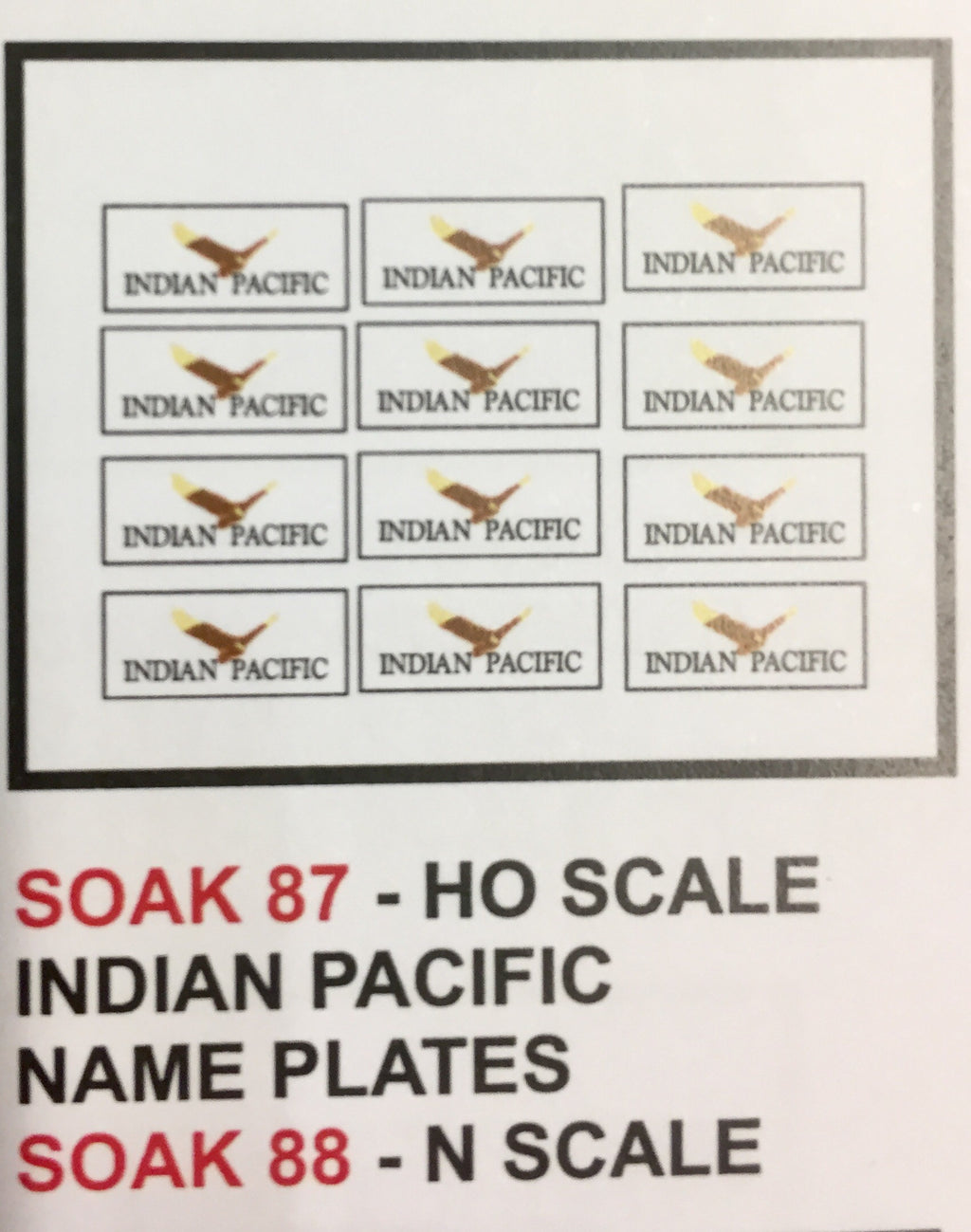 SK 88 N scale DECAL for INDIAN PACIFIC coach's name LOGOS 10 per pack N scale