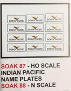 SK 088 N scale DECAL for INDIAN PACIFIC coach's name LOGOS 10 per pack N scale