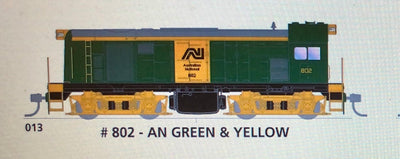 800 class DC Powered - #013 Loco No 802 in AN GREEN & YELLOW - SOUTH AUSTRALIAN RAILWAYS:  SDS Models NOW AVAILABLE: Non Sound