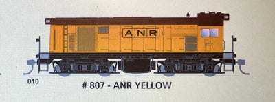 800 class SAR. SDS Models : 010 #807 ANR YELLOW SOUTH AUSTRALIAN  RAILWAYS : 800 CLASS: Non Sound
