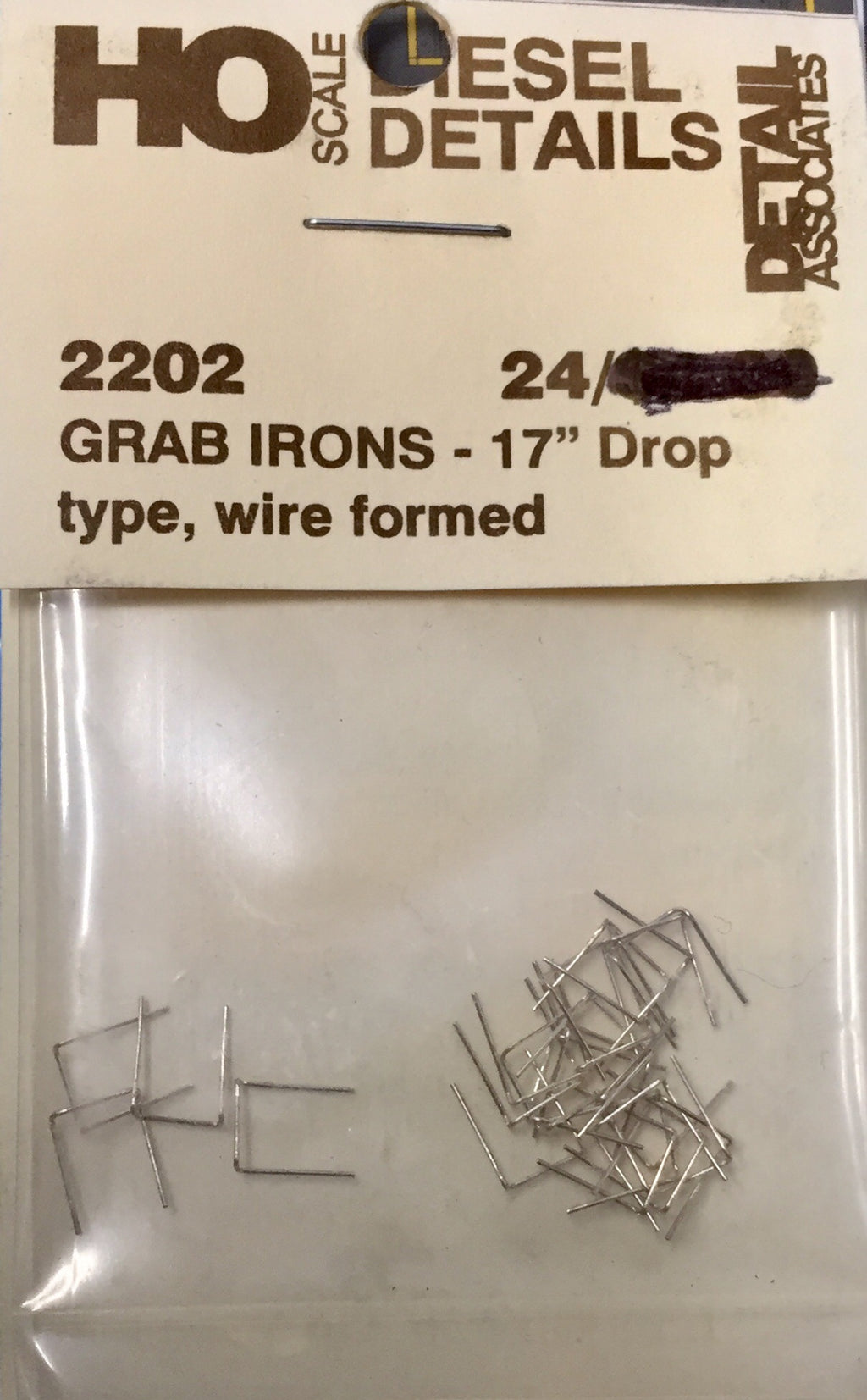 "DETAIL ASS - 2202 - GRAB IRON 17"" Drop type, wire formed  (end of run stock)"