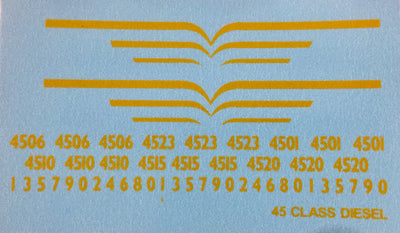 45 class Ozzy Decals: LOCOMOTIVE 45 CLASS YELLOW LININGS FOR INDIAN RED BODY #CHSK02.