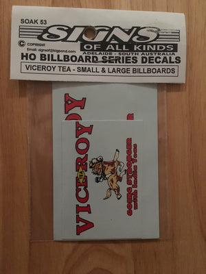 "SK 53 ""billboard series"" Decal for ""VICEROY TEA"" two sizes, small & large HO"