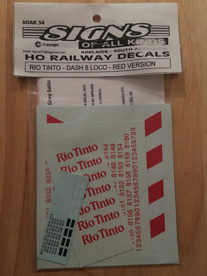 SOAK 054 DECAL for RIO TINTO ES44-DC (DASH 8) LOCO, RED DECAL
