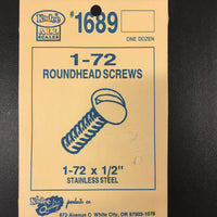 #1689 Screws Stainless Steel 1-72 x 1/2in