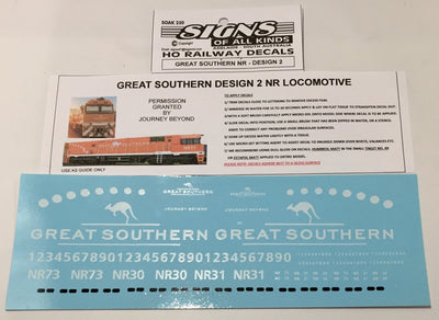 SK250 DECAL 'NEW' GREAT SOUTHERN NR Class locomotive Sheet Design No2. HO