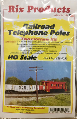 RIX 0032 RAILROAD TELEGRAPH / TELEPHONE POLES with 2 CROSS ARMS in  KIT form. (RRP $14.94) SALE PRICE. $9.95.