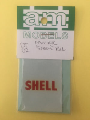 AM Models Decal HO:DT2 decal for NSW Rail Tank Cars SHELL in RED