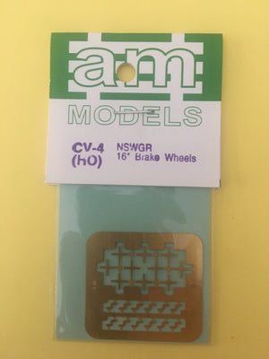 AM Models : CV04 NSWGR BRASS ETCHED 16 inch Brake Wheels & Lamp Irons (10)