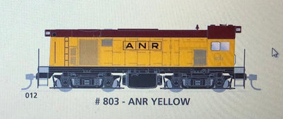 800 class DC Powered - #012 Loco No 803 in TRAFFIC YELLOW - SOUTH AUSTRALIAN RAILWAYS:  SDS Models NOW AVAILABLE
