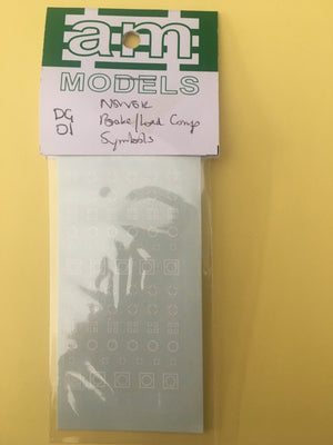 AM Models : Decal DG1 NSWGR decal brake-load compensation symbols 50-70's