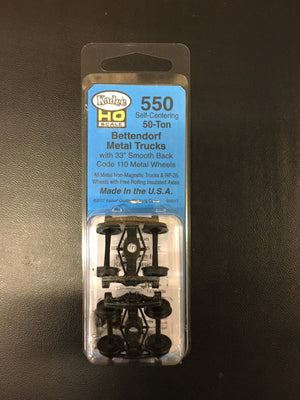 "#550 Bettendorf Self-Centering Trucks 33"" wheels Kadee"