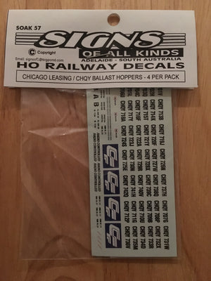 SK 57 DEACL for CHICAGO LEASING CHQY BALLAST decal 4 wagons