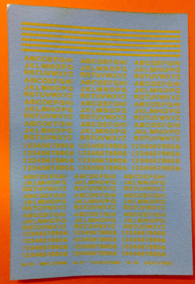 Ozzy Decal CHSK 40 : 2 mm & 2.5 mm Letters & Numbers in Yellow in two sizes, decal transfers