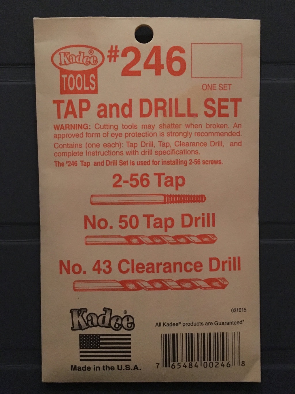 # 246 Tap 2-56 and Drills #50 and #43 kadee