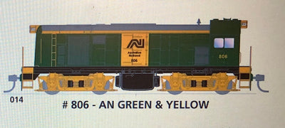 800 class DC Powered - #014 Loco No 806 in AN GREEN & YELLOW - SOUTH AUSTRALIAN RAILWAYS:  SDS Models NOW AVAILABLE:Non Sound