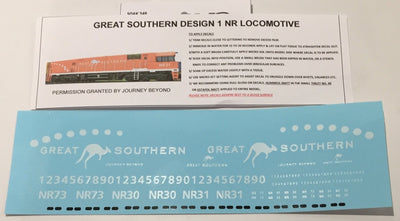 SK249 DECAL 'NEW' GREAT SOUTHERN NR Class locomotive Sheet Design No1. HO
