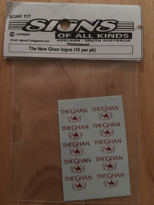 SK117 THE NEW THE GHAN PASSENGER CAR LOGO 10 PER PK. HO DECAL