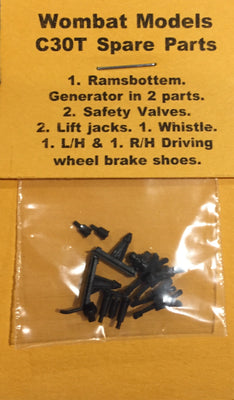 Parts: Wombat models C30T: 1. Ramsbottem. Generator in 2 parts.  2. Safety Valves. 2. Lift jacks. 1. Whistle. 1. L/H & 1. R/H Driving  wheel brake shoes.